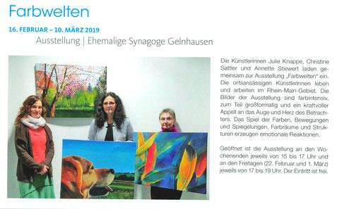 Presseartikel, Kunst, Synagoge, Unser Gelnhausen, 2018, Malerei, Vernissage, ausstellung, Presse