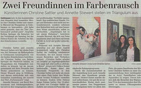 Triangulum, Gelnhausen, Kunst, Presse, Gelnhäuser Neue Zeitung, Malen, Künstler, Kunst, Malerei, Vernissage, ausstellung, Presse