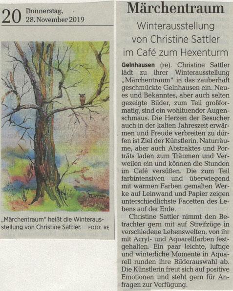 Presse, Gelnhäuser Neue Zeitung, Christine Sattler, Café zum Hexenturm, Winter 2019