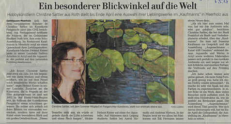 Kunst, Malerei, Vernissage, ausstellung, Presse, Natur, Presse, Gelnhäuser Neue Zeitung, Landschaft, Kaufmanns, Meerholz, Gelnhausen