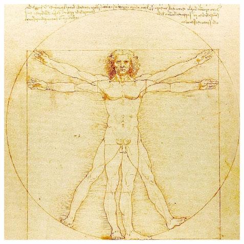 """""""L'Homme de Vitruve"""", l'homme comme mesure de toute chose - icône de la Renaissance humaniste liée à l'imprimerie et toujours source d'inspiration en cette Deuxième Renaissance qui a peut-être démarré avec la révolution digitale (cf M. Serres)."""