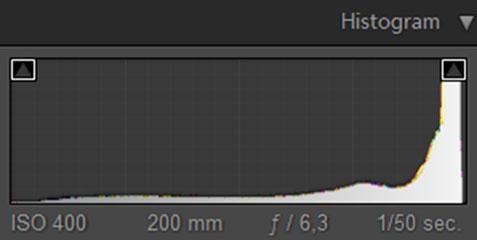 Bij een high-key foto zoals hierboven, bevindt de piek zich rechts in het histogram