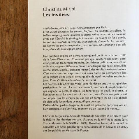 Quatrième de couverture Les invitées de Christina Mirjol
