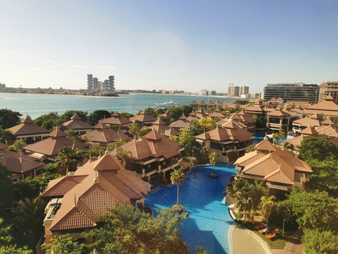 """Blick auf die Hotelanlage des """"Anantara the Palm"""""""