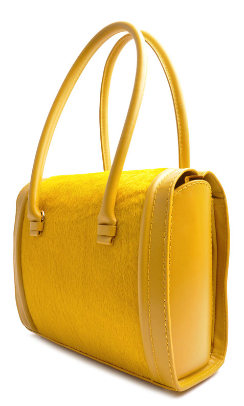 OSTWALD Bags . CASE . Tote . Leather . Cow Fur . yellow. Shop Online . Elegant bag for everyday use