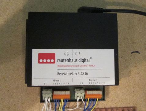 Zum Rückmelde-Encoder modifizierter Rautenhaus Besetztmelder SLX816 (0775)