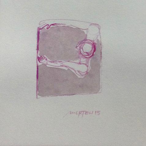 UMARMUNG, 2015, Johannes Morten, 10 x 10 cm, Aquarell auf Papier