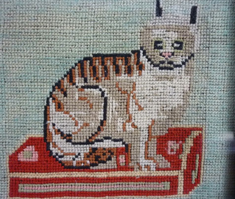 Folk Art Woolwork picture of a cat