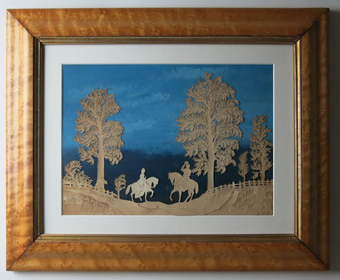English 19th century folk art cut paper picture