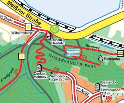 Cossebauder Park auf der aktuellen Wanderkarte, Karte: Bettina Bruschke