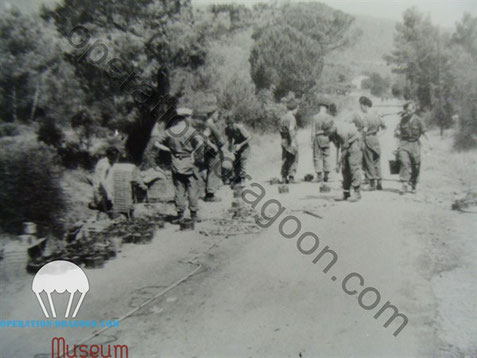 "The Squadron RE ""C"" Troop section, mining the road Callas/Le Muy to prevent counter attack by the german forces"