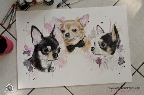 Création sur commande, d'après vos photos!  (Akina, Sanzô & Yaeka, chihuahuas de Bilitis)