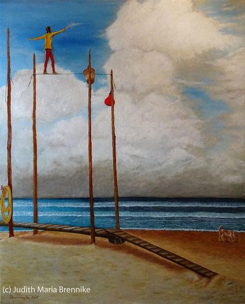 "Brennike Malerei 2019 ""Steg am Strand"" Ölgemälde 80x100x2 cm"