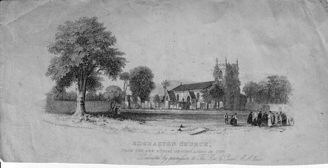 Edgbaston church at the opening of the new burial ground 1838 - image kindly submitted by  Mary Whittaker