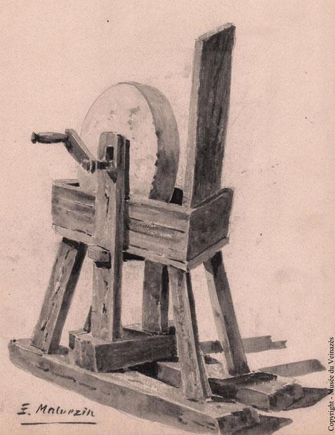 meule à aiguiser, aquarelle d'Emile Malvezin (1884-1970)