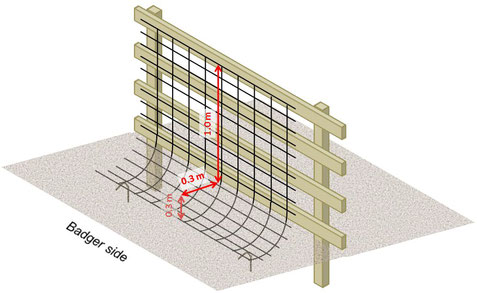 diagram to construct a badger proof fence
