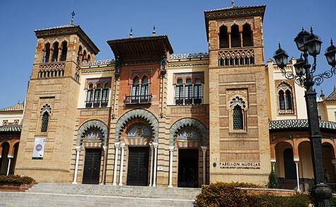 Photographie, Espagne, Andalousie, Séville, musée,, palais, art, art mudéjar, architecture, galerie, briques, arcs, stucs, azulejos, Mathieu Guillochon