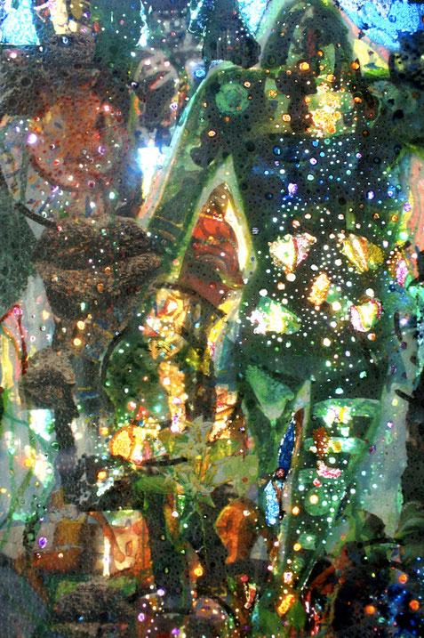 Collages & techniques mixtes sur plexiglas, 170x40cm, 2013.Détails, partie supérieure.