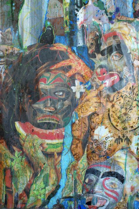 Collages & techniques mixtes sur plexiglas, 175x78cm, 2013.Détails, partie supérieure