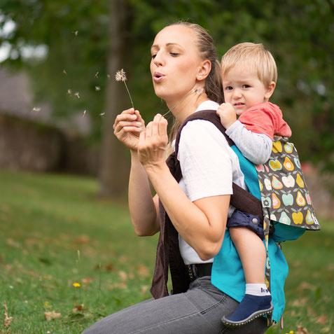 Huckepack Podaegi, Tragehilfe, Rückentrage und Bauchtrage, stufenlos mitwachsend ab Geburt bis zum Kleinkind