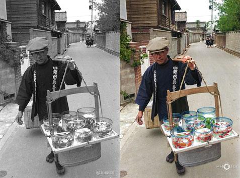 修復・色再現 作業前→作業後比較 1963(昭和38)年4月、金沢市本多町を流す金魚売り