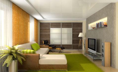 Spanndecke Wohnzimmer glänzend weiß CreoHeimDesign