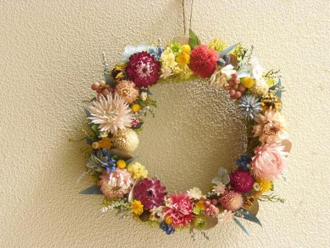 野の花リース ピンクブルー