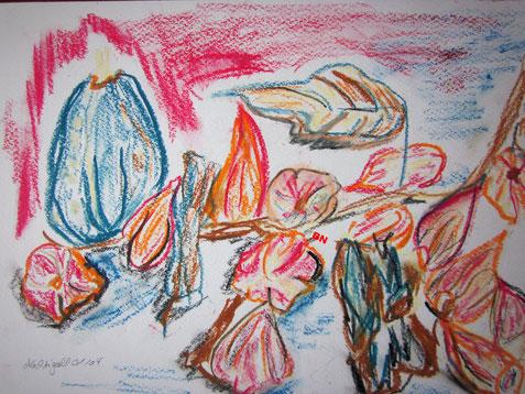 Pastellölkreide, Kürbis und Lampionblumen. In der Psychatrie gemalt Jan. 2004