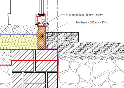 detail for Triotherm thermal bracket as threshold on subfloor