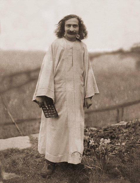 "East Challacombe, Devon, England . This image of Meher Baba was later used as the front cover of ""The Perfect Master"" book by Purdom"