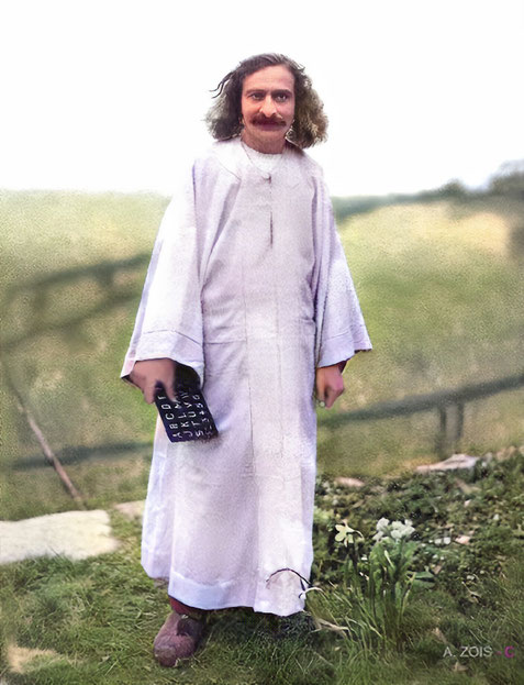 East Challacombe, Devon, England . This image of Meher Baba was 'Colourized' from the original by Anthony Zois.