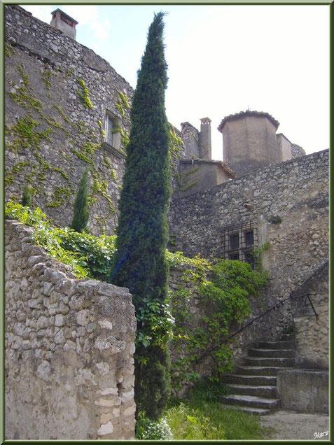 Recoin verdoyant au détour d'une ruelle au village d'Eygalières dans les Alpilles, Bouches du Rhône