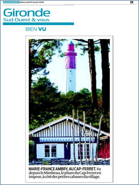 Photo Marinelle sur Journal Sud-Ouest, page Gironde, éditiion du 10/08/2016