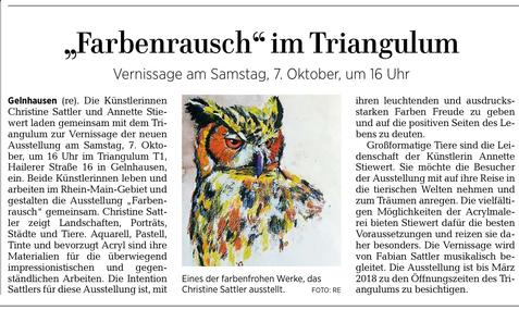 Triangulum, Gelnhausen, Kunst, Presse, Gelnhäuser Neue Zeitung, Vernissage erei, Vernissage, ausstellung, Presse