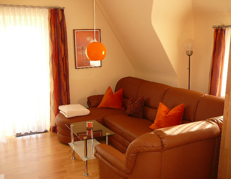 Wohnzimmer mit hochwertigem Leder-Sofa