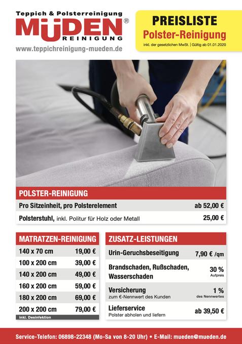 mueden.de, aktuelle Werbung, Angebote, Flyer Polsterreinigung