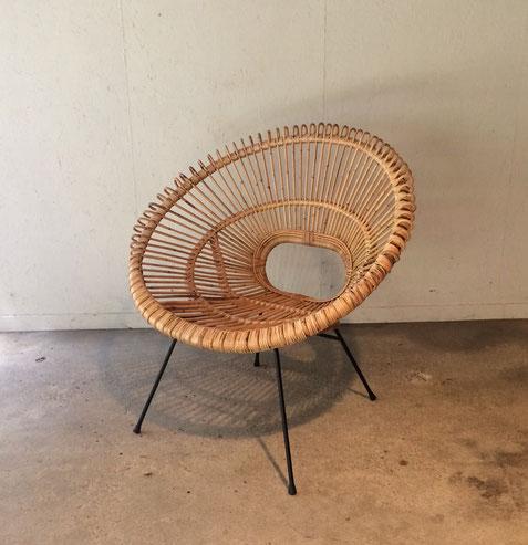 fauteuil soleil, janine abraham, dirk Jan Rol, fauteuil rotin vintage