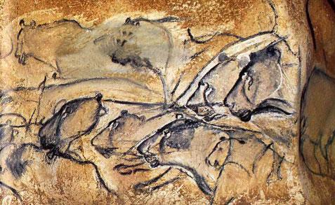 La fresque aux lions, grotte Chauvet.
