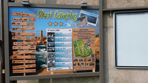 panneau tarif camping west camping
