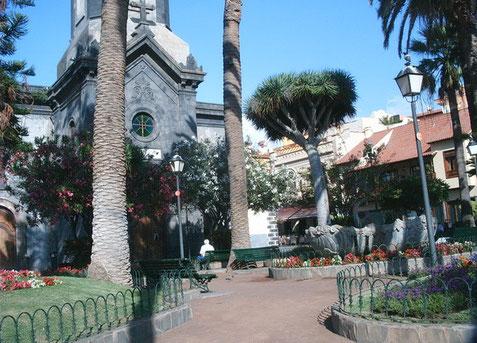 Mit tropischen Pflanzen bepflanzter Vorplatz vor der Kirche im Zentrum von Puerto de la Cruz.