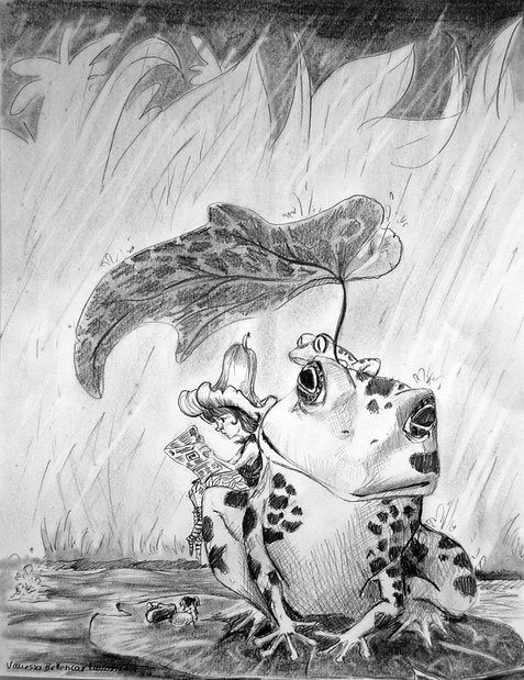 frog book storytelling traditional drawing cute children's books myth pencil art