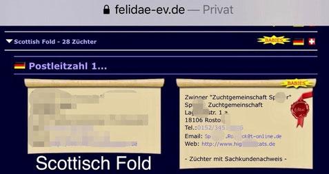 April 2020, Verkaufsannonce der Zuchtgemeinschaft S. aus Rostock auf der Webseite von felidae-ev.de