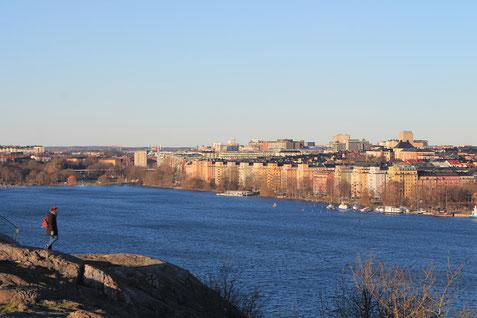 Catalina auf einem Aussichtsfelsen in Stockholm