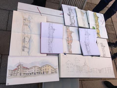 """Zeichnungen der Teilnehmer am Workshop """"Perspektivisches Rundum zeichnen"""" mit Arno Hartmann"""