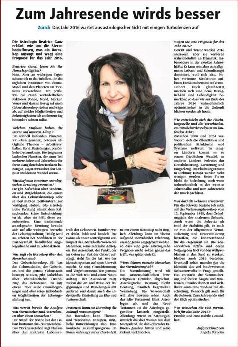 """Beatrice Ganz wird von  Züri Rundschau interviewt:  """"Sie erklärt, wie uns die Sterne beeinflussen, was ein Horoskop aussagt und wagt eine Prognose für das Jahr 2016"""""""