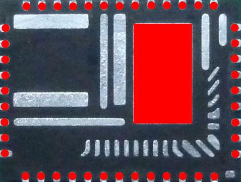 QFNの裏面端子 基板と接続する部分
