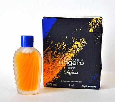 PARFUMS UNGARO - UNGARO 3 ML : PETITE MINIATURE EN VERRE  DEPOLI - BOÎTE DIFFERENTE N'INDIQUANT LE NOM SENSO