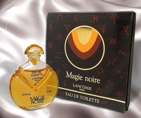 MAGIE NOIRE - EAU DE TOILETTE 7,5 ML - SERIGRAPHIE NOIRE, BOÎTE A RABAT A PLUSIEURS COULEURS
