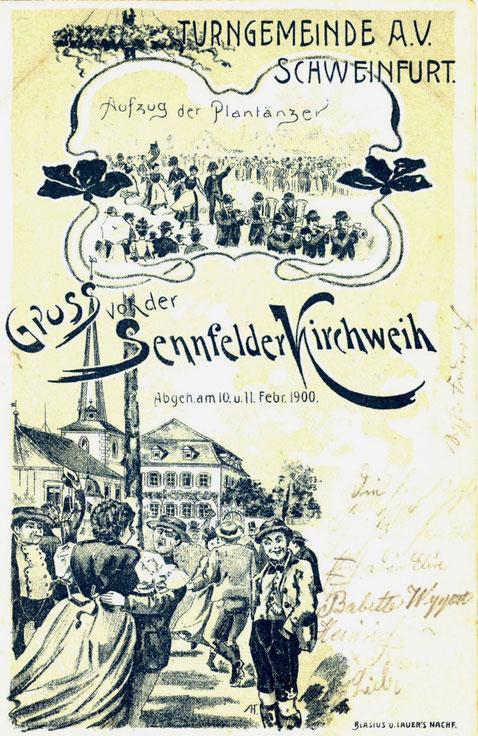 Gruß von der Sennfelder Kirchweih um 1900. Eine Karte der Turngemeinde Schweinfurt