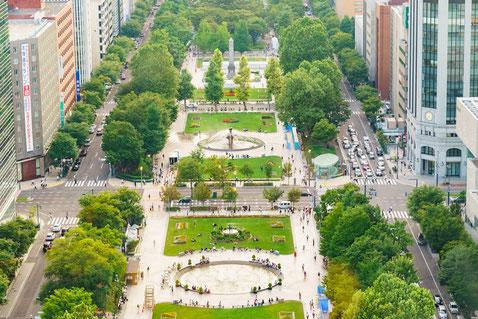 上空から見る札幌の大通公園の風景